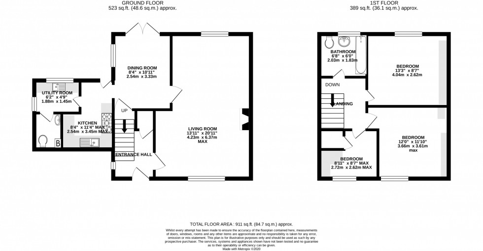 Floorplan for Oakwood Road, Mere