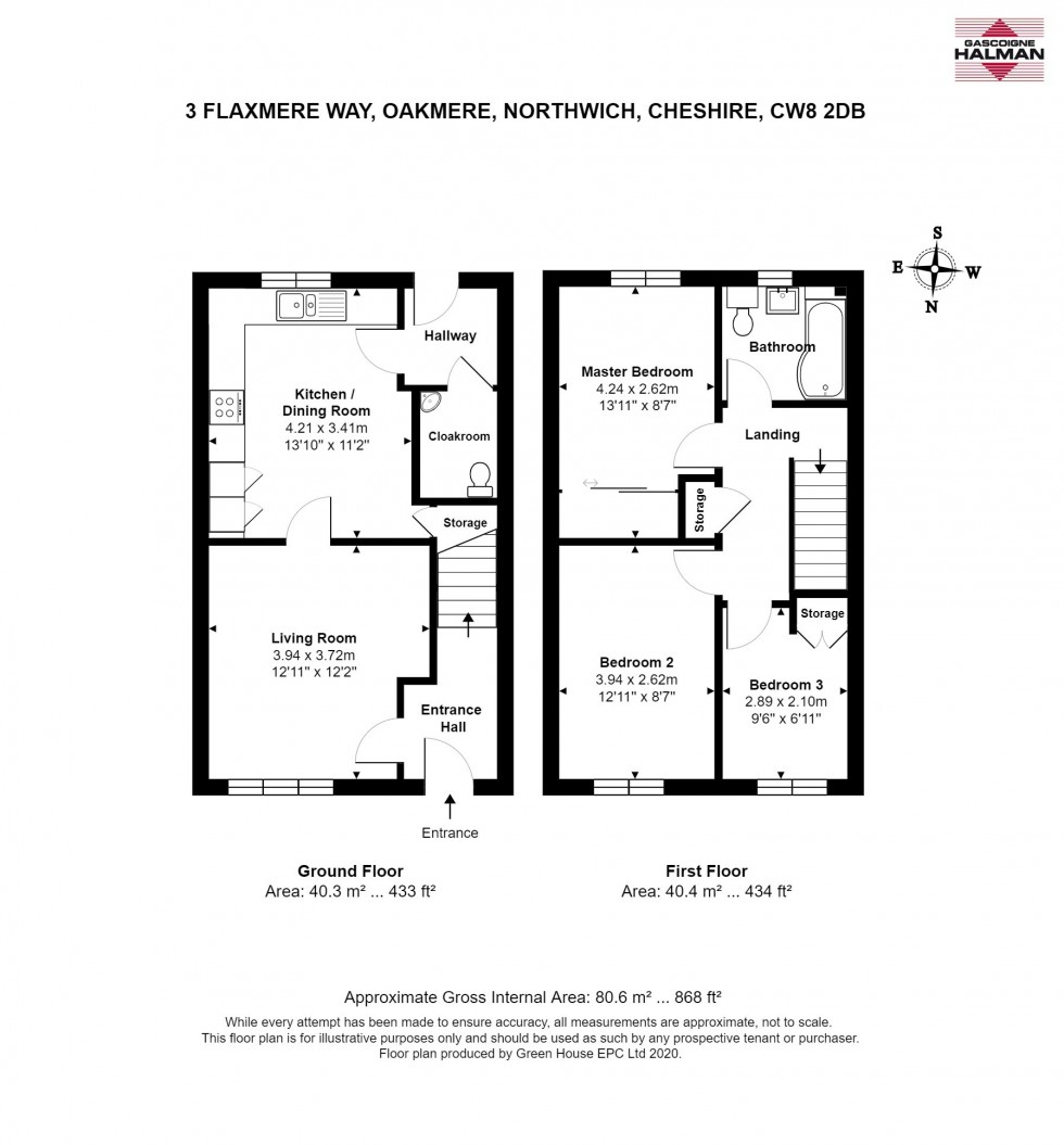 Floorplan for Flaxmere Way, Oakmere, Northwich